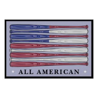 All American baseball bats flag poster