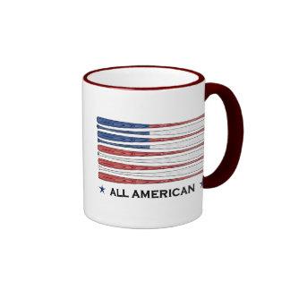 All American Baseball Flag Ringer Mug