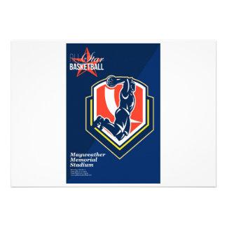 All American Basketball Retro Poster Invites