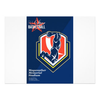 All American Basketball Retro Poster Personalised Announcements