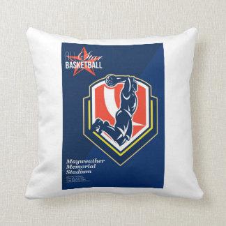 All American Basketball Retro Poster Throw Pillow
