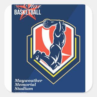 All American Basketball Retro Poster Square Stickers