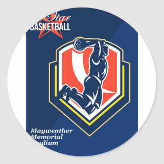 All American Basketball Retro Poster Sticker