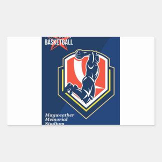 All American Basketball Retro Poster Rectangle Sticker