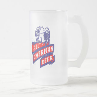 All American Beer Frosted Glass Beer Mug