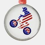 All-American BMX Rider Round Metal Christmas Ornament
