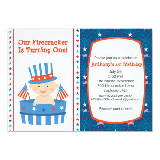 All American Boys First Birthday Invitation