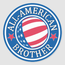Round Sticker with All-American Brother design