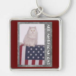 All American Cat Silver-Colored Square Keychain