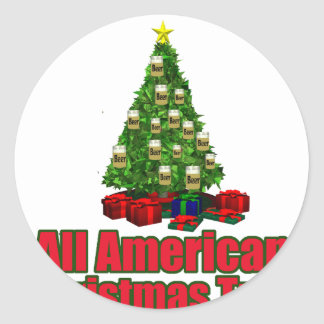 All American christmas tree with beer Classic Round Sticker