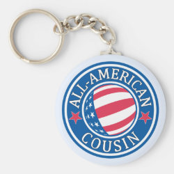 Basic Button Keychain with All American Cousin design