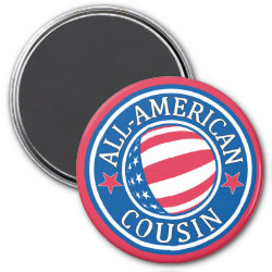 Round Magnet with All American Cousin design