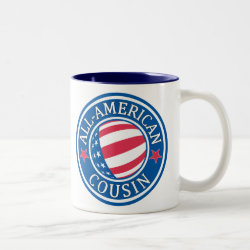 Two-Tone Mug with All American Cousin design