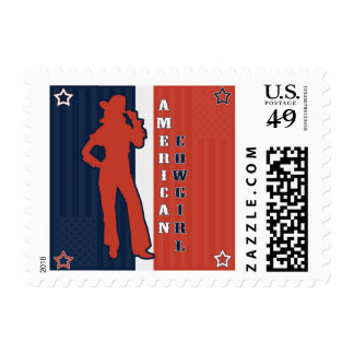 All American Cowgirl - Red White and Blue Postage