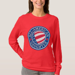 Women's Basic Long Sleeve T-Shirt with All-American Daughter design