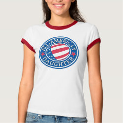 Ladies Ringer T-Shirt with All-American Daughter design