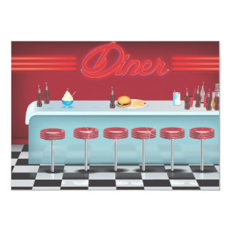 All American Diner Restaurant Personalized Invitation