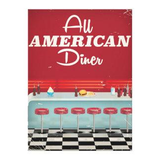 All American Diner Retro Poster Canvas Print
