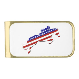 All-American Equestrian Rider Gold Finish Money Clip