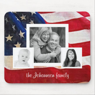 All American Family 3 Photos  with US Flag Mouse Pad