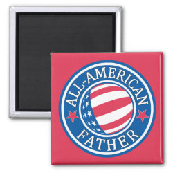All-American Father Square Magnet