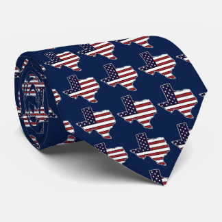All American flag Texas outline necktie