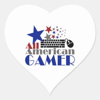 All American Gamer Heart Sticker