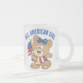 All American Girl Bear 10 Oz Frosted Glass Coffee Mug
