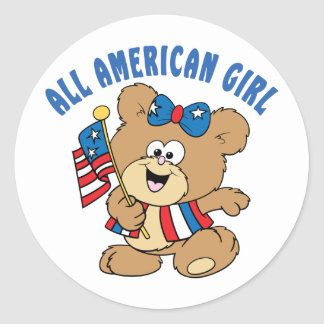 All American Girl Bear Classic Round Sticker