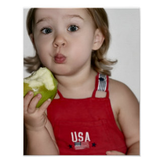 All American Girl Eating Apple Print Poster
