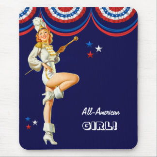 All-American Girl. Pin-up Design Gift Mousepad