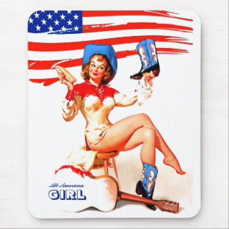 All-American Girl. Pin-up Design Gift Mousepads