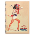 All-American Girl. Pin-up Design Gift Notebook Spiral Notebooks
