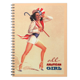 All-American Girl. Pin-up Design Gift Notebook