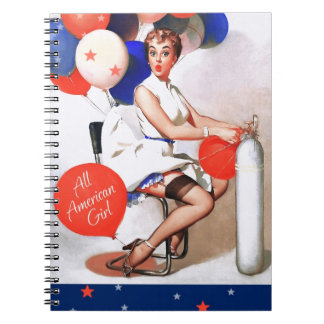 All-American Girl. Vintage Pin-up Design Notebook