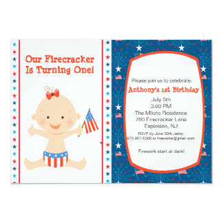 All American Girls First Birthday Invitation