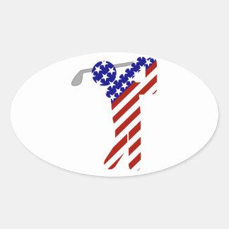 All American Golfer - Mens Golf Oval Sticker