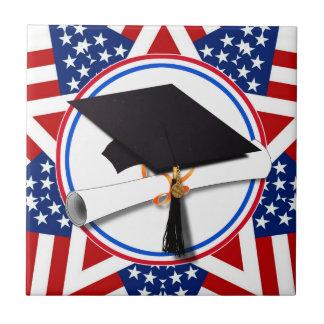 All American Grad - Red White & Blue Colors Ceramic Tile