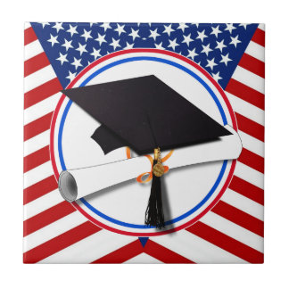 All American Grad - Red White & Blue Colors Tile