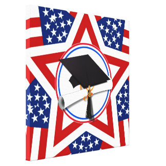 All American Grad - Red White & Blue on Stars Canvas Print