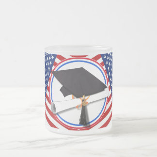 All American Grad - Red White & Blue on Stars 10 Oz Frosted Glass Coffee Mug
