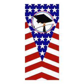 All American Grad - Red White & Blue on Stars Rack Card Template