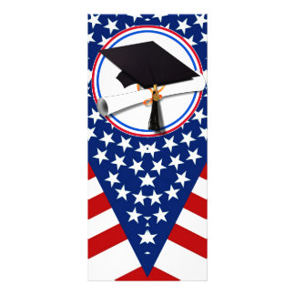 All American Grad - Red White & Blue on Stars Full Color Rack Card