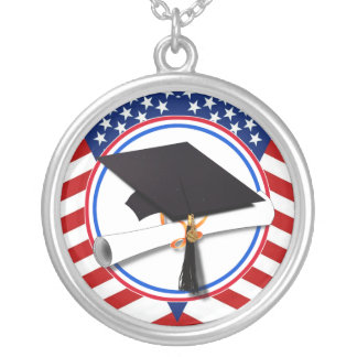 All American Graduate Silver Plated Necklace