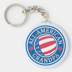 Basic Button Keychain with All-American Grandpa design