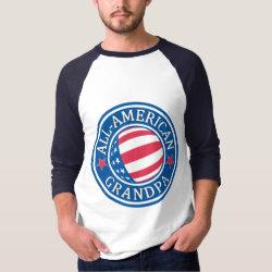 Men's Basic 3/4 Sleeve Raglan T-Shirt with All-American Grandpa design