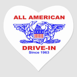 All American Hamburger Drive In HEART Heart Sticker
