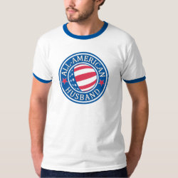 Men's Basic Ringer T-Shirt with All-American Husband design