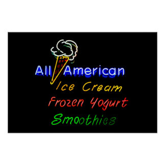 All-American Ice Cream, Frozen Yogurt and Smoothie Poster