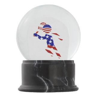 All-American Mens Tennis Player Snow Globe
